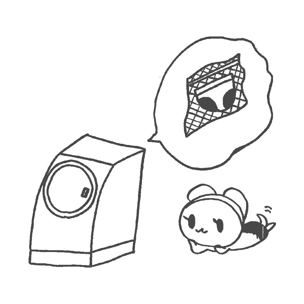 ②洗濯ネットに入れ、洗濯機で洗う